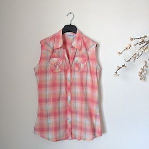 WRANGLER Western Sleeveless Plaid Pink Pearl Snap